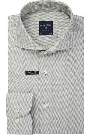 Profuomo Lichtgroen jacquard overhemd Originale heren
