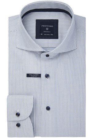 Profuomo Heren Overhemden - Wit dobby print overhemd Originale heren