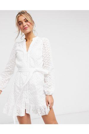 Style Cheat Tie waist mini dress in white