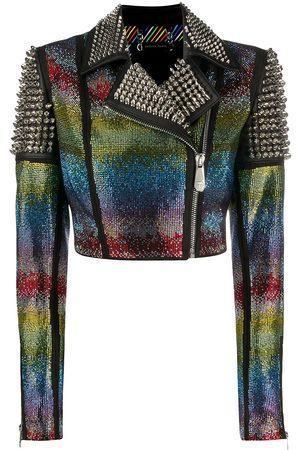 Philipp Plein Rainbow-studded biker jacker