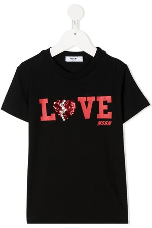 Msgm Sequined-heart T-shirt