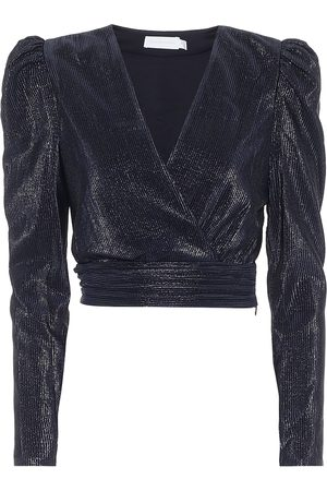 JONATHAN SIMKHAI Metallic plissé crop top
