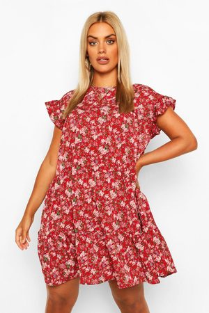 Boohoo Plus Woven Tiered Ruffle Smock Dress
