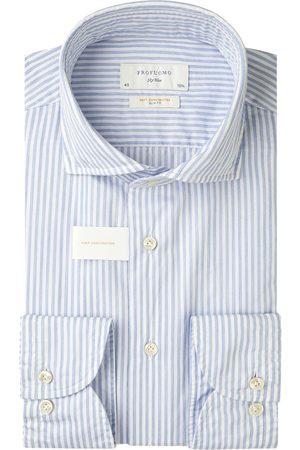 Profuomo Heren Overhemden - Gestreept soft constructed overhemd Sky Blue heren