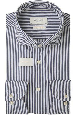 Profuomo Navy gestreept soft constructed overhemd Sky Blue heren