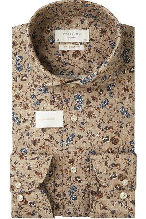 Profuomo Heren Overhemden - Camel bloemenprint overhemd Sky Blue heren