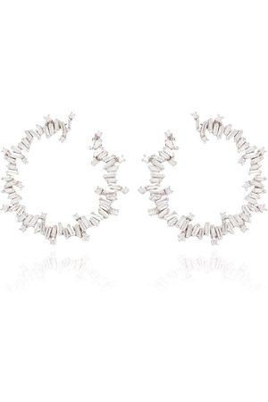 Suzanne Kalan 18kt white gold diamond hoop earrings