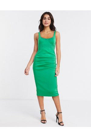 ASOS Sleeveless square neck midi dress with corsetry detail in green