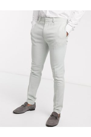 ASOS Wedding super skinny wool mix suit trouser in light blue twill-Green