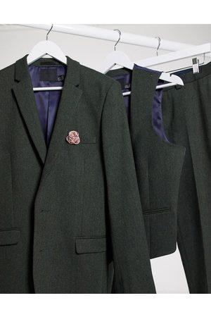ASOS Wedding super skinny wool mix suit jacket in khaki twill-Green