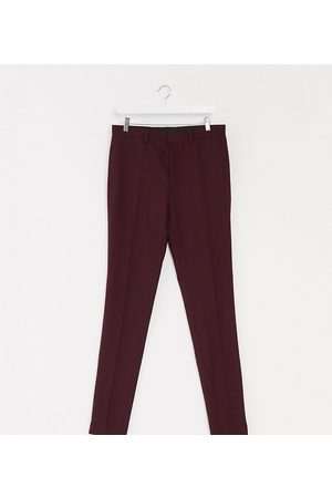 ASOS Tall wedding super skinny wool mix suit trousers in burgundy-Red