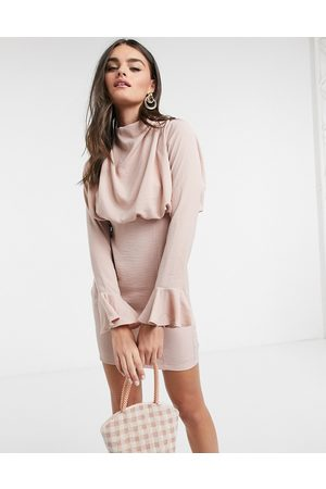 ASOS Cowl neck fluted sleeve mini dress in rose-Pink