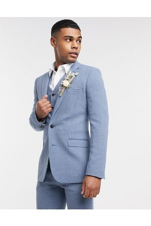 ASOS Wedding super skinny wool mix suit jacket in blue houndstooth check