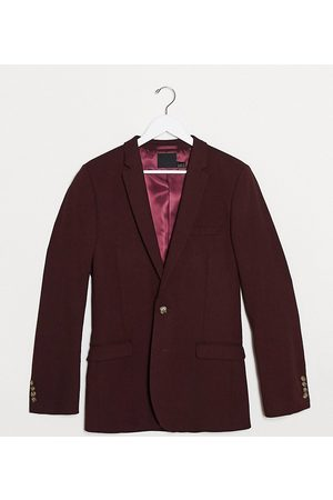 ASOS Tall wedding super skinny wool mix suit jacket in burgundy-Red
