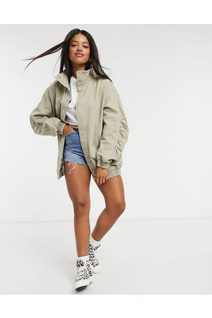 ASOS Ruched sleeve 80s oversized jacket in sage-Purple