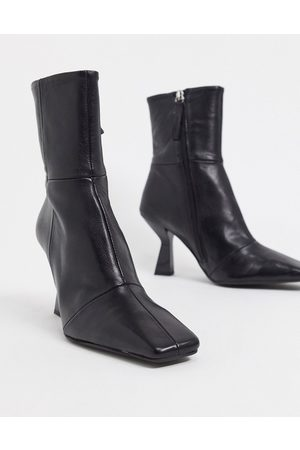 ASOS Elodie premium leather square toe heeled boots in black