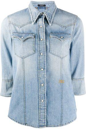 PORTS 1961 Stonewashed crop sleeve shirt