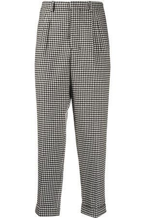 Ami Checkered pleated carrot fit trousers