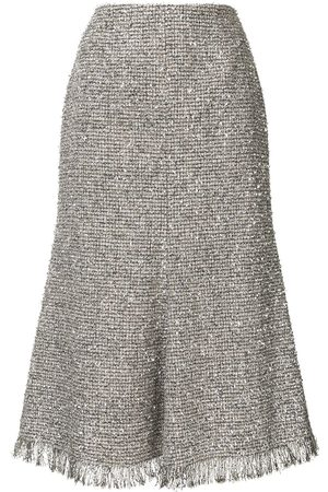 GOEN.J Metallic tweed midi skirt