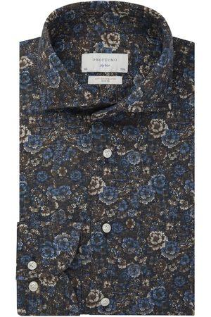 Profuomo Heren Overhemden - Navy bloemenprint overhemd Sky Blue heren