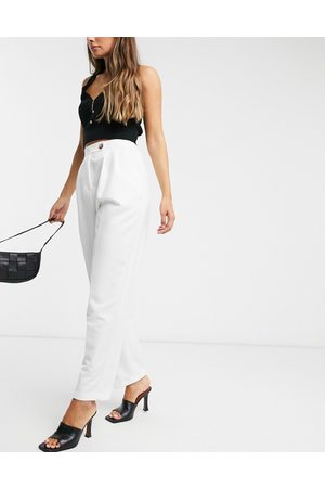 ASOS Dad trousers in ivory-White