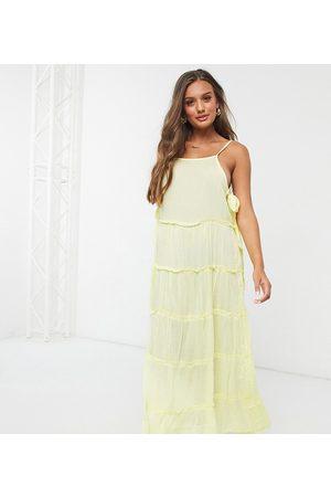 ASOS ASOS DESIGN petite tiered side tie maxi beach dress in pastel yellow