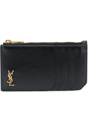 Saint Laurent Logo plaque zipped cardholder