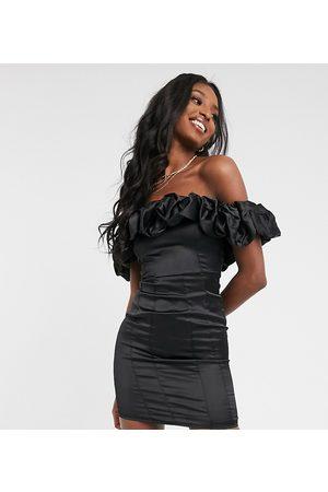 Club L London Extreme ruffle satin mini dress in black