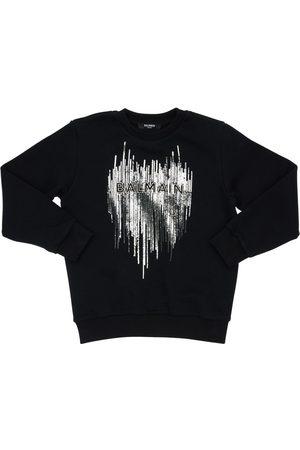 Balmain Sequined Crewneck Cotton Sweatshirt