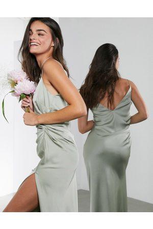 ASOS Satin cami maxi dress with drape detail in sage green