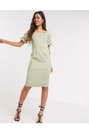 Closet Dames Midi jurken - Belted pencil midi dress in khaki-White