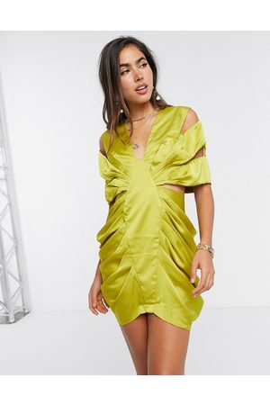 ASOS Extreme drape satin mini dress with cut out detail in olive-Green