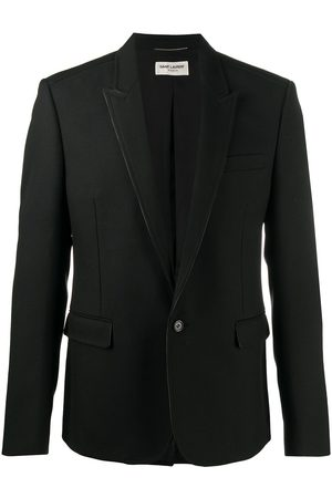 Saint Laurent Leather-trimmed single-breasted blazer