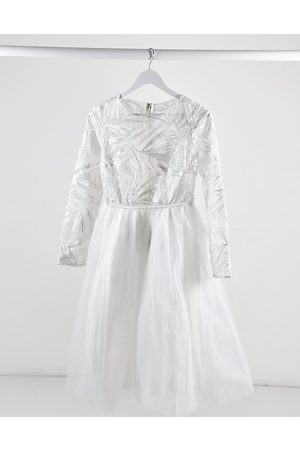 Rare Fashion London lace top long sleeve tulle midi dress in white