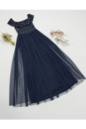 Maya Dames Lange jurken - Bridesmaid bardot maxi tulle dress with tonal delicate sequins in navy