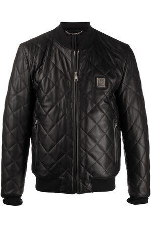 Dolce & Gabbana Heren Leren jassen - Quilted leather jacket with logo plaque