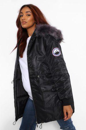 Boohoo Maternity Faux Fur Trim Parka Coat