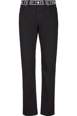 Fendi Logo-tape straight-leg jeans