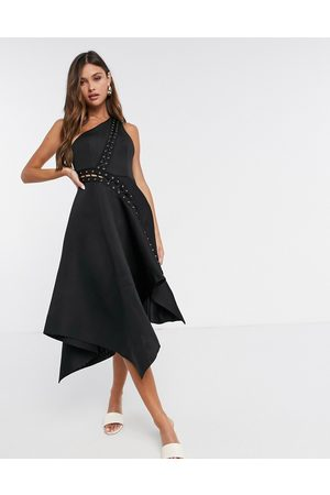 ASOS One shoulder midi prom dress with asymmetric hem and lace up eyelet detail in black