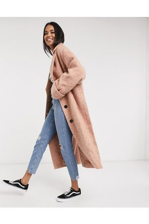 ASOS Batwing textured slouchy oversized coat in pink