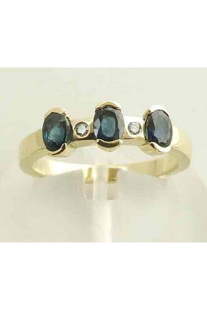 Christian Gouden diamanten en saffieren ring