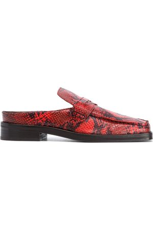 MARTINE ROSE Square neck snakeskin print loafers