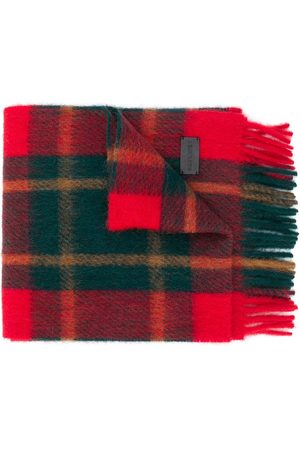 Saint Laurent Tartan-check fringed scarf