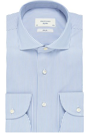 Profuomo SALE | heren streep twill overhemd Sky Blue