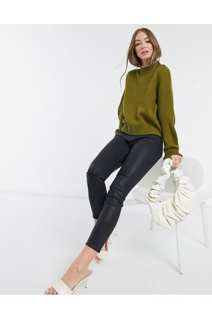 Vero Moda High neck jumper with pearl trim in khaki-Green