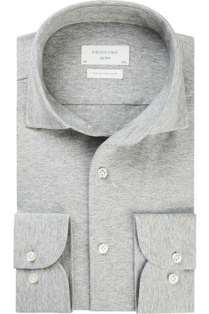 Profuomo Heren Overhemden - Heren single jersey knitted overhemd Sky Blue