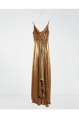 TFNC Cowl neck cami strap maxi dress with train in gold