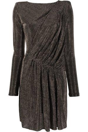 Saint Laurent Draped metallic padded-shoulder dress