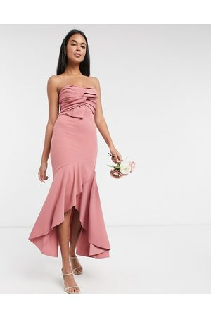 Little Mistress Strapless bow detail fishtail bridesmaid dress in rose pink