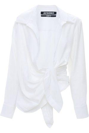 Jacquemus Draped Viscose Blend Shirt W/knot Detail